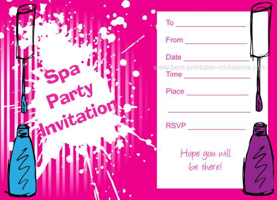 6 Images of Free Printable Spa Party Invitations