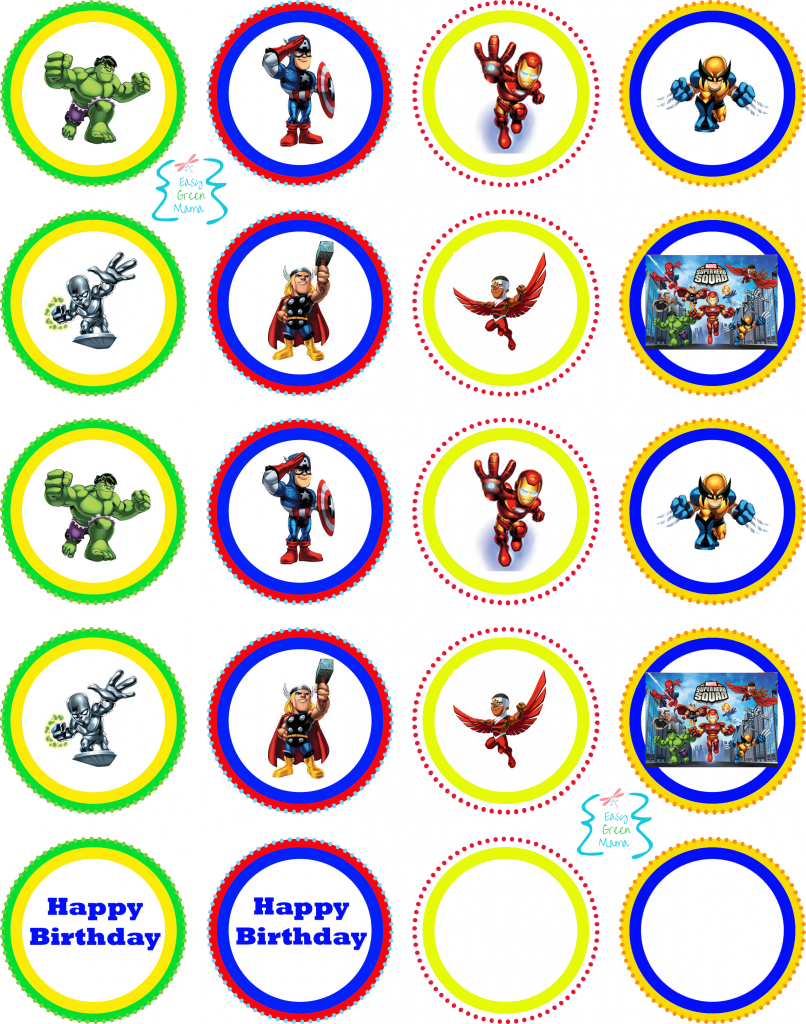 Cupcake Toppers Printable 8 Best Images Of Free Superhero