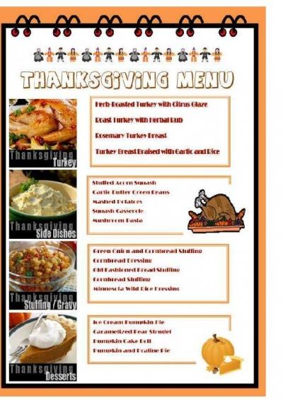 Free Printable Thanksgiving Menu Design Maker