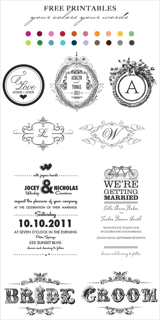 7 best images of printable wedding monogram templates for Free printable wedding invitations wedding chicks