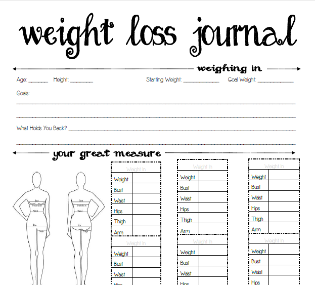 6 Images of Weight Loss Journal Printable