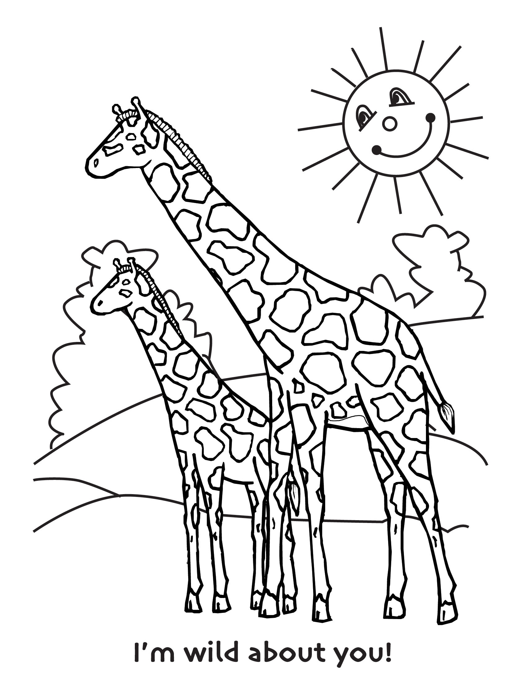 7 best images of cute giraffe coloring pages printable for Coloring pages of baby giraffes