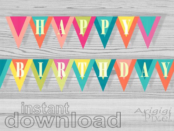 6 Images of DIY Birthday Banner Printable