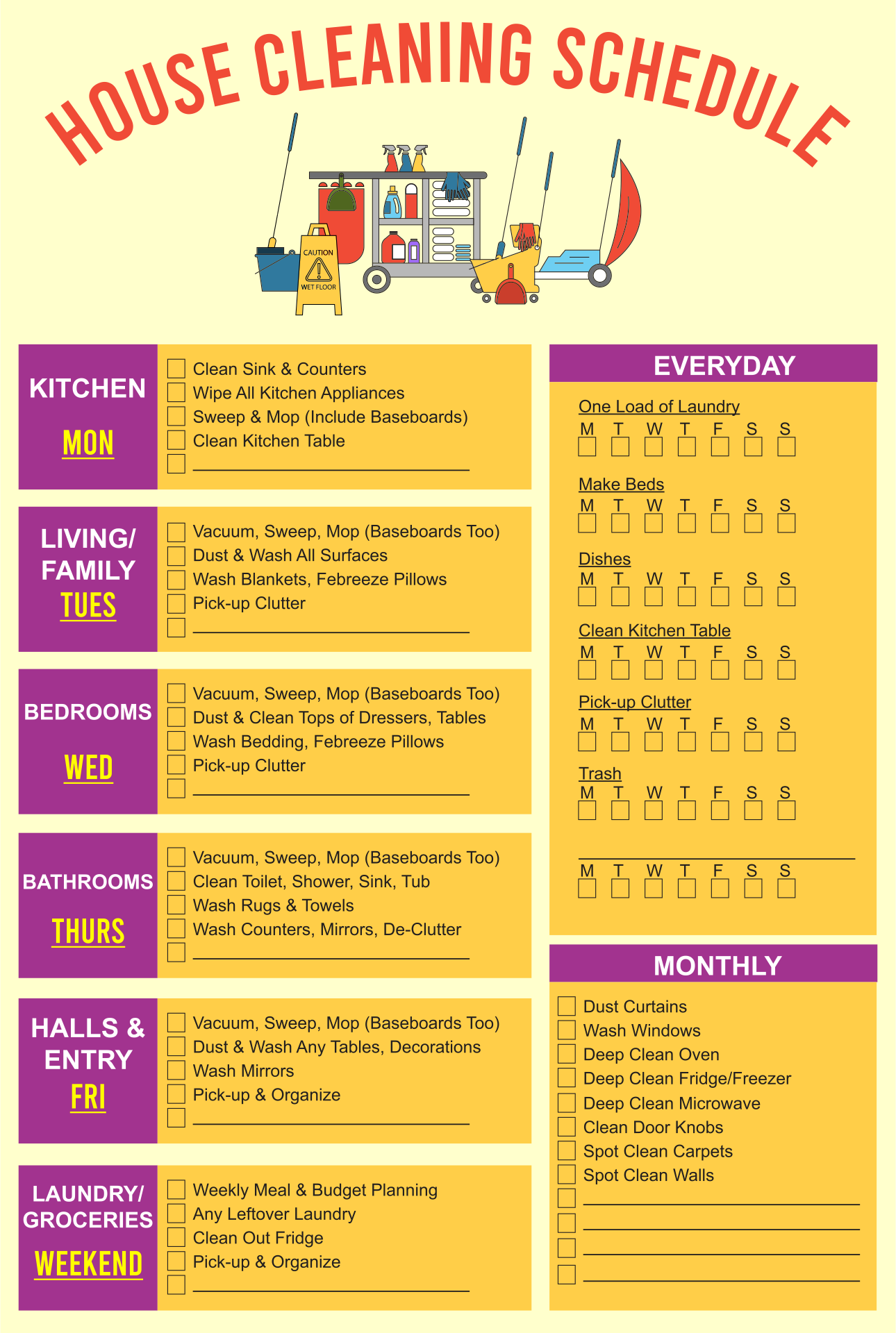 8 best images of restroom cleaning schedule printable for Janitorial schedule template