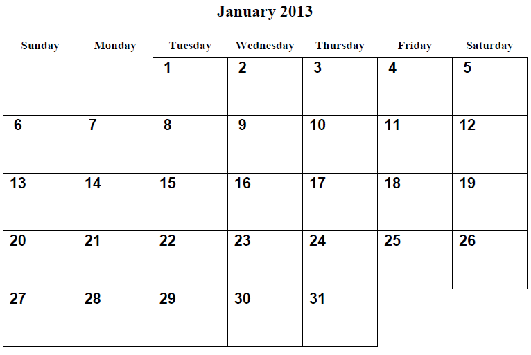 9 best images of 2013 printable calendar by month