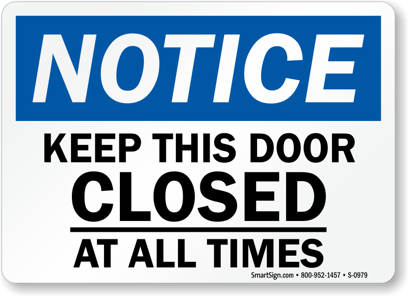 Keep Door Closed Sign Printable