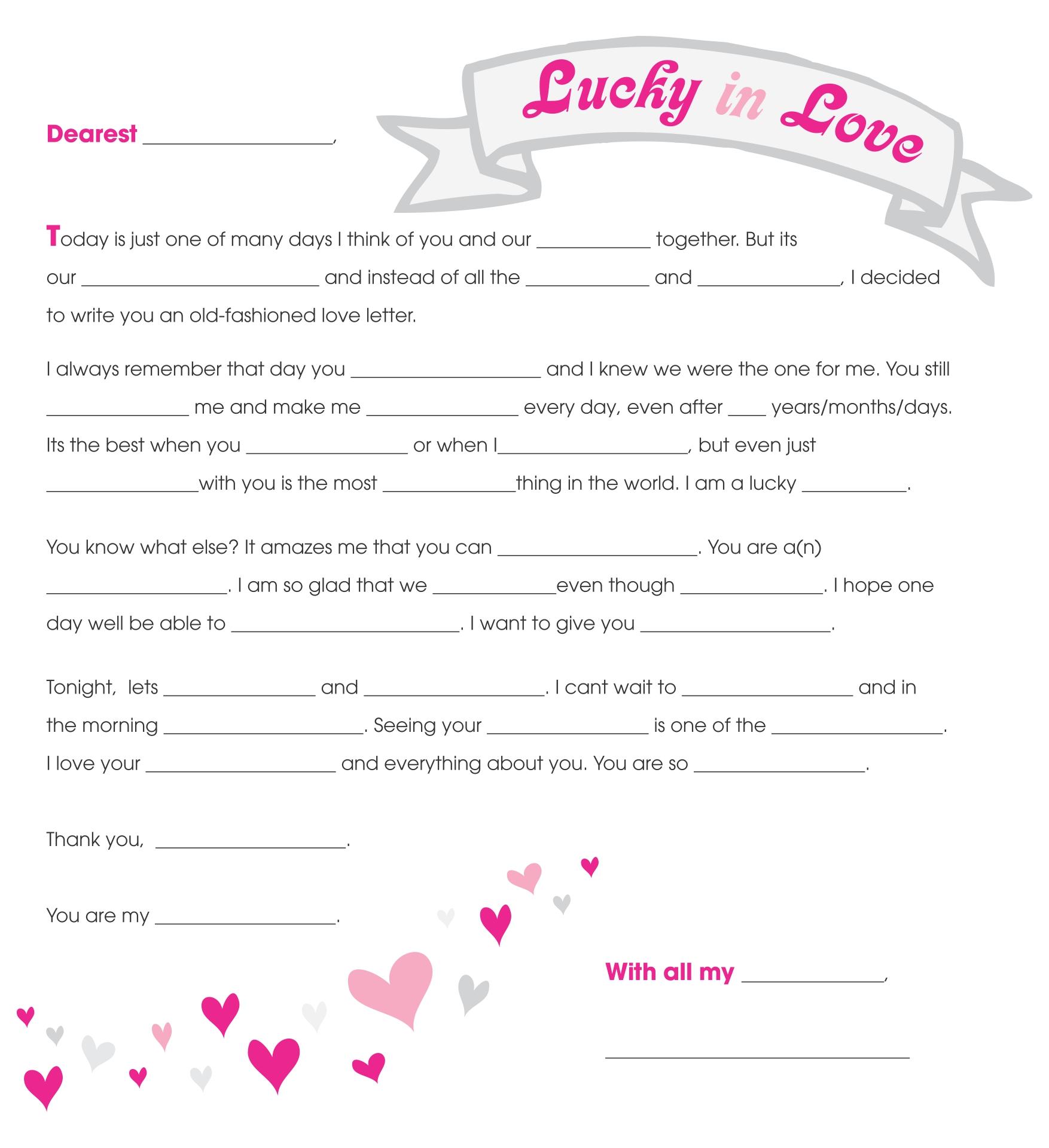 Love Letter Mad Lib