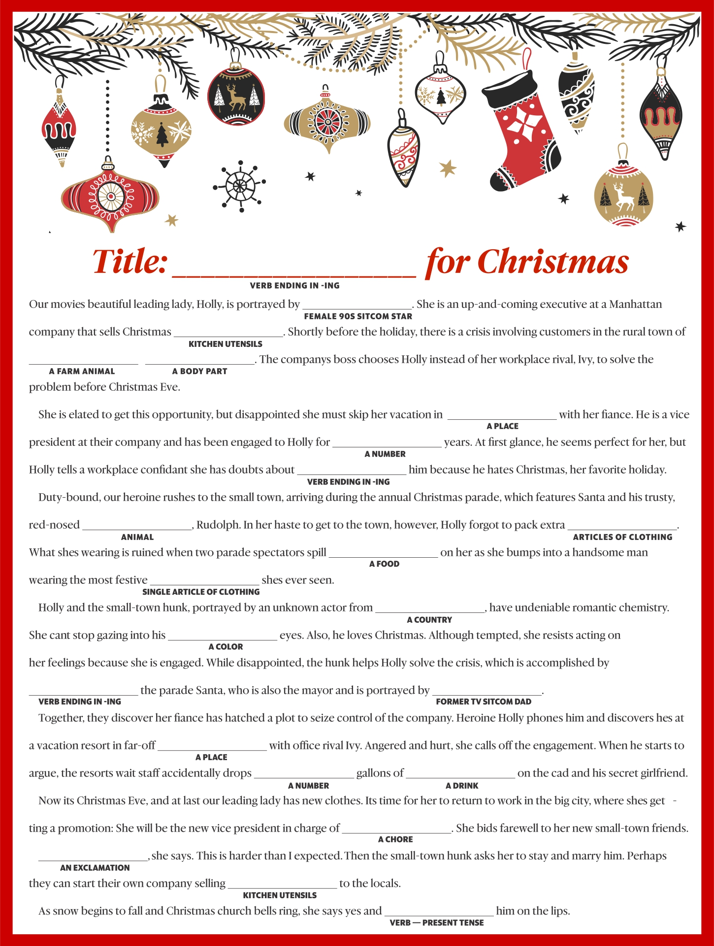 Mad Libs Christmas Letter