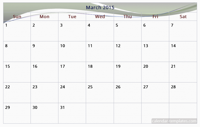 6 Images of March 2015 Calendar Printable Free PDF