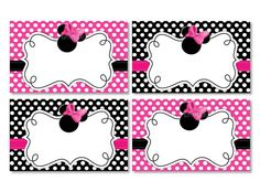 6 Images of Minnie Mouse Printable Placecards