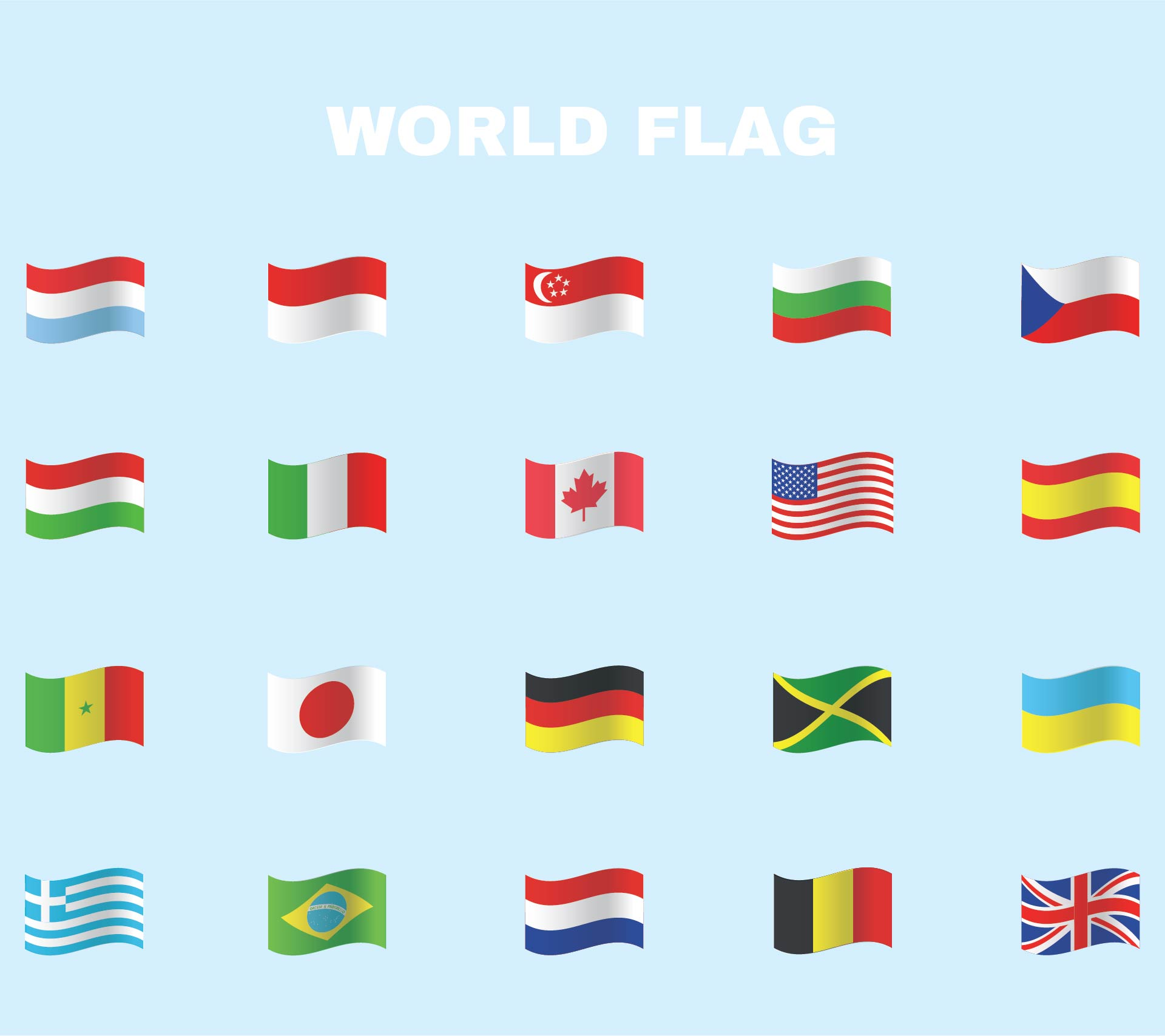 5 Images of Miniature Printable World Flags Downloadable