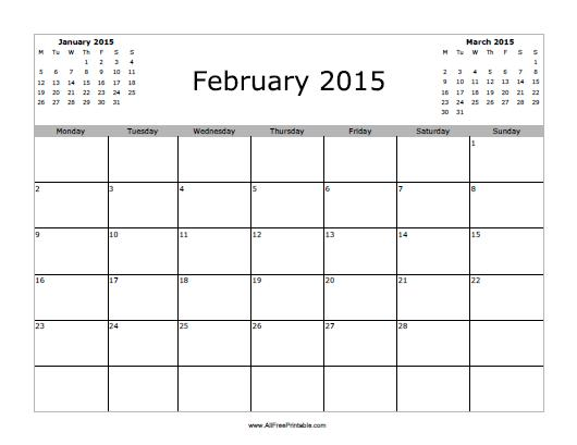8 Images of Free Printable February 2015 Calendar