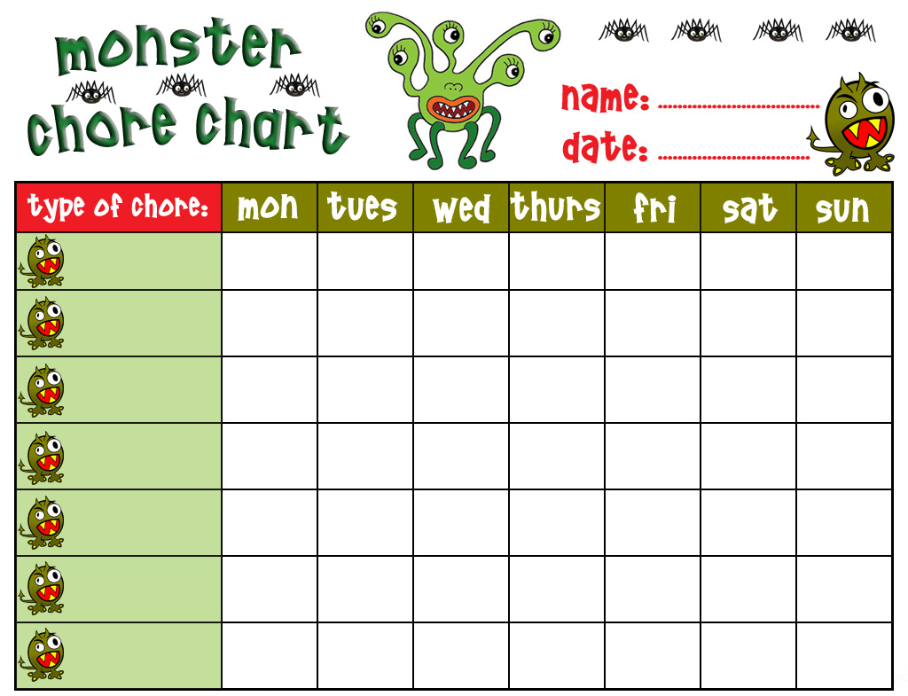 4 Images of Free Printable Chore Behavior Charts For Kids