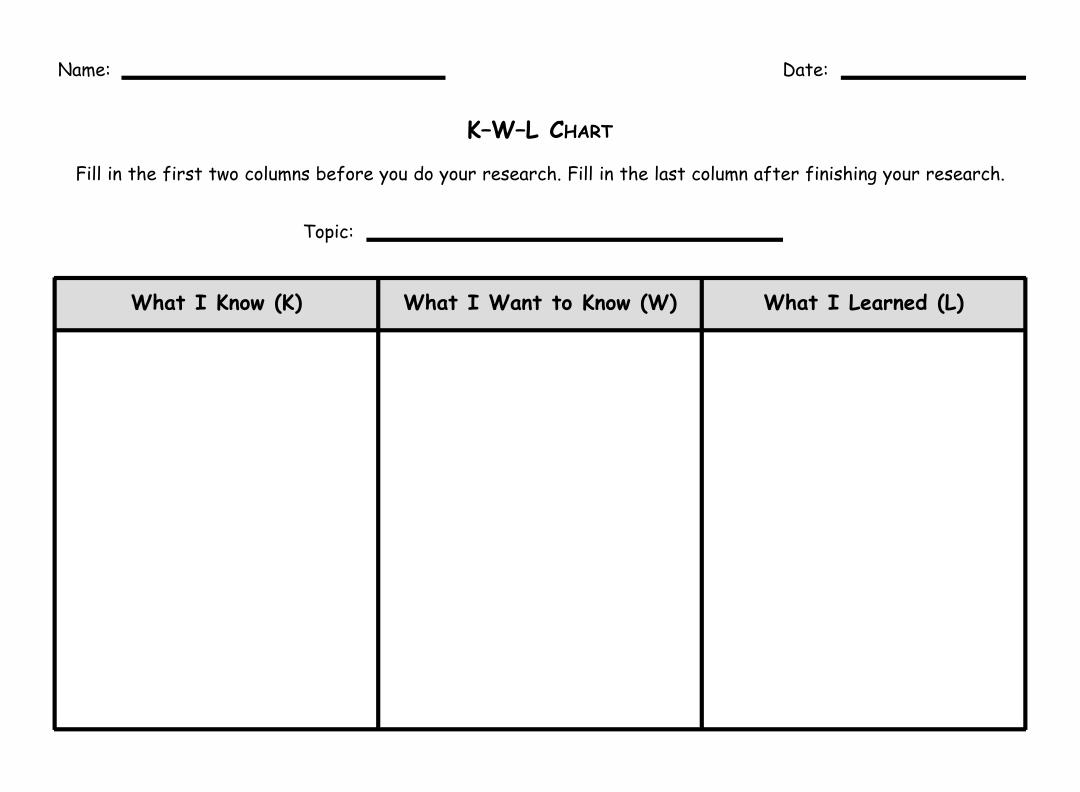 Printable KWL Chart with Lines
