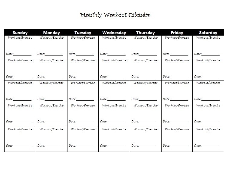 8 Images of Printable Workout Calendar