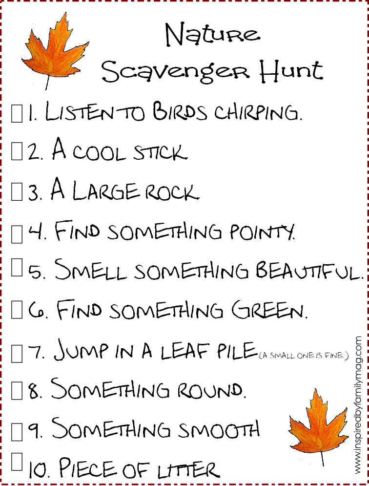 8 Images of Nature Scavenger Hunt Printable