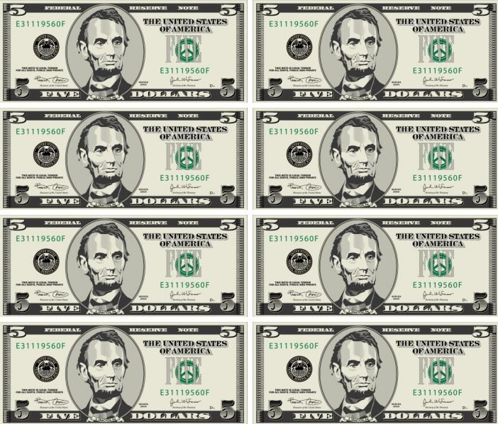 4 Images of Printable Realistic Play Money