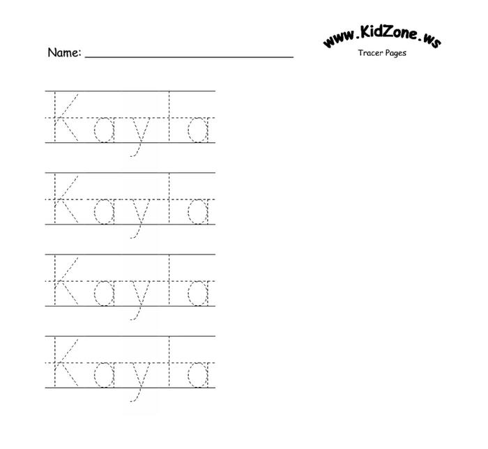 4 Images of KidZone Tracer Printable