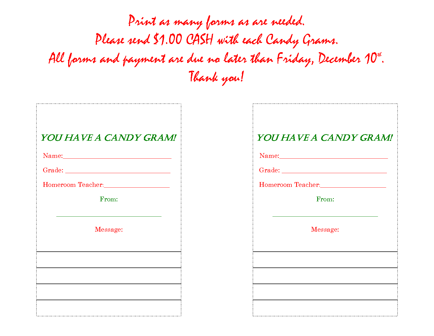... Candy Grams, Printable Valentine Candy Grams and Printable Candy Cane