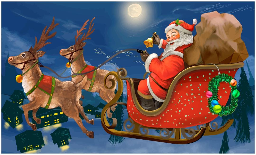 Vintage Santa Claus and Reindeer