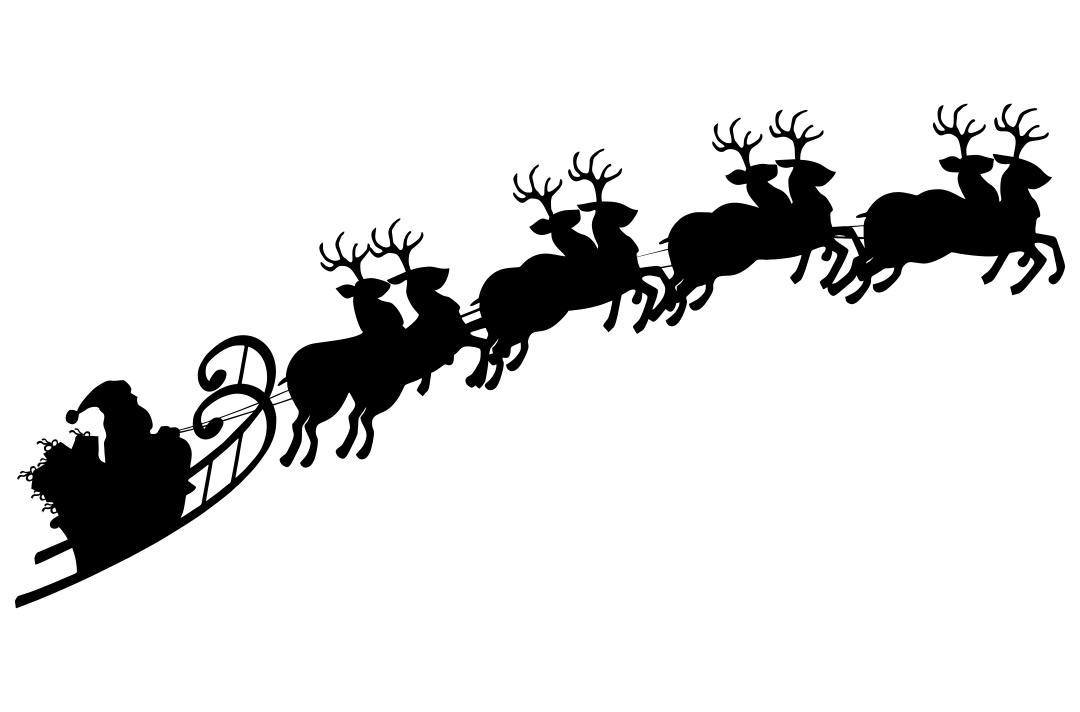 Vintage Santa Sleigh and Reindeer Silhouette