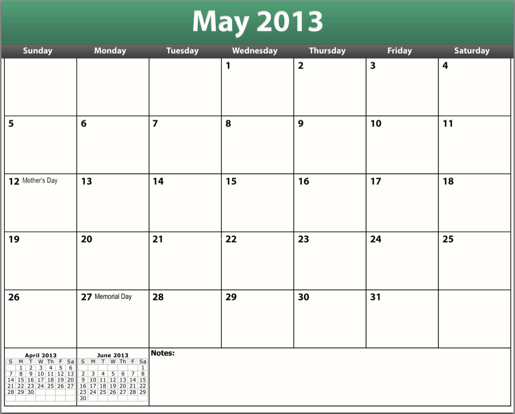 7 Images of May 2013 Calendar Printable Template