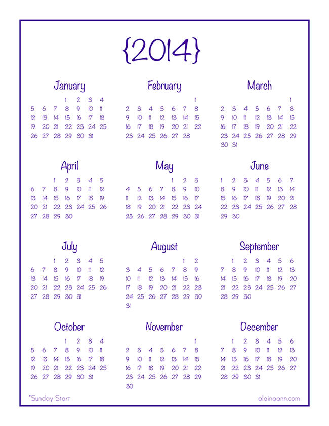 7 Images of Free Printable 2014 Calendar Year At A Glance
