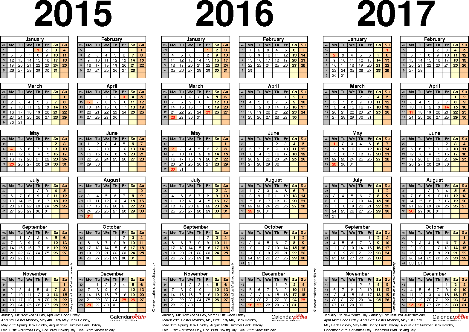 7 Images of Printable Yearly Calendar 2015 2016 2017 2018