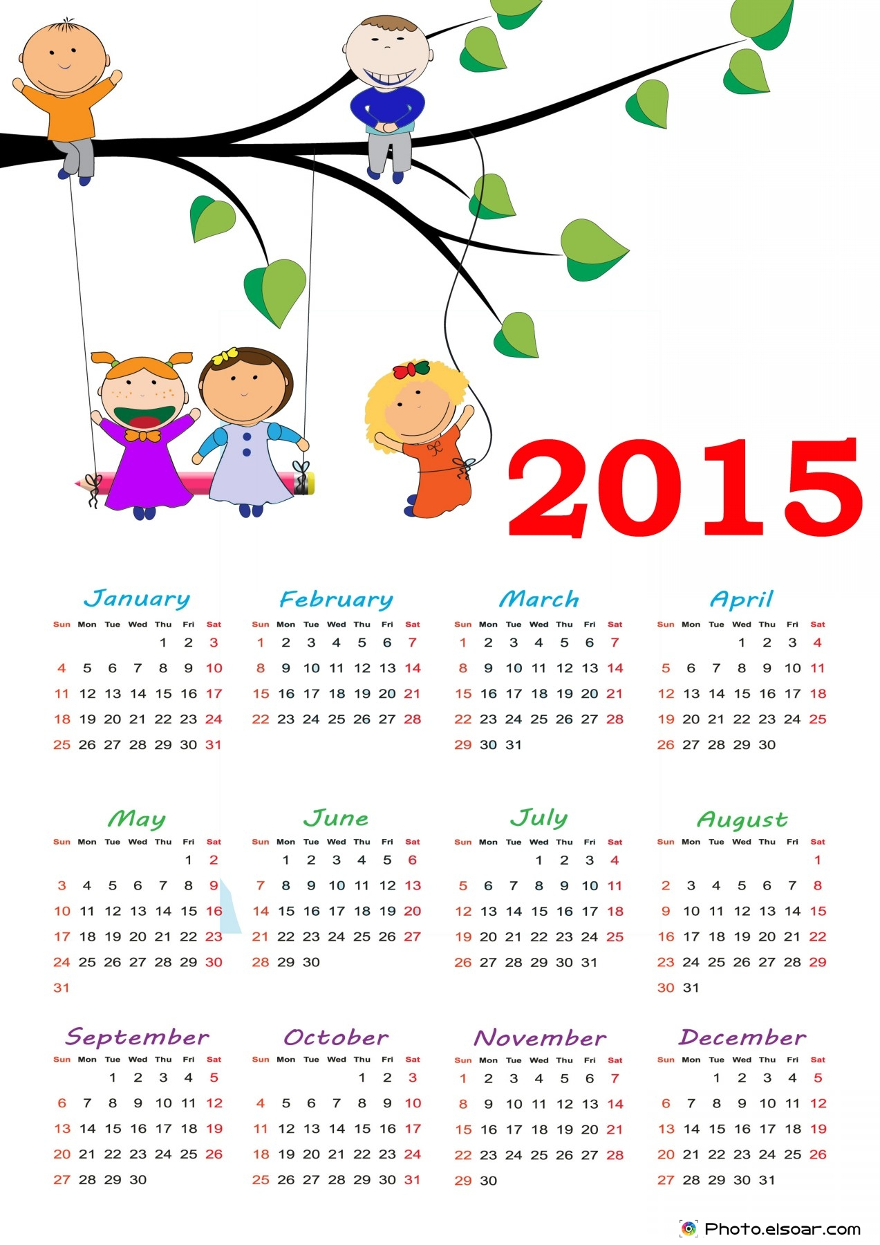 5 Images of Cute Printable 2015 Calendar