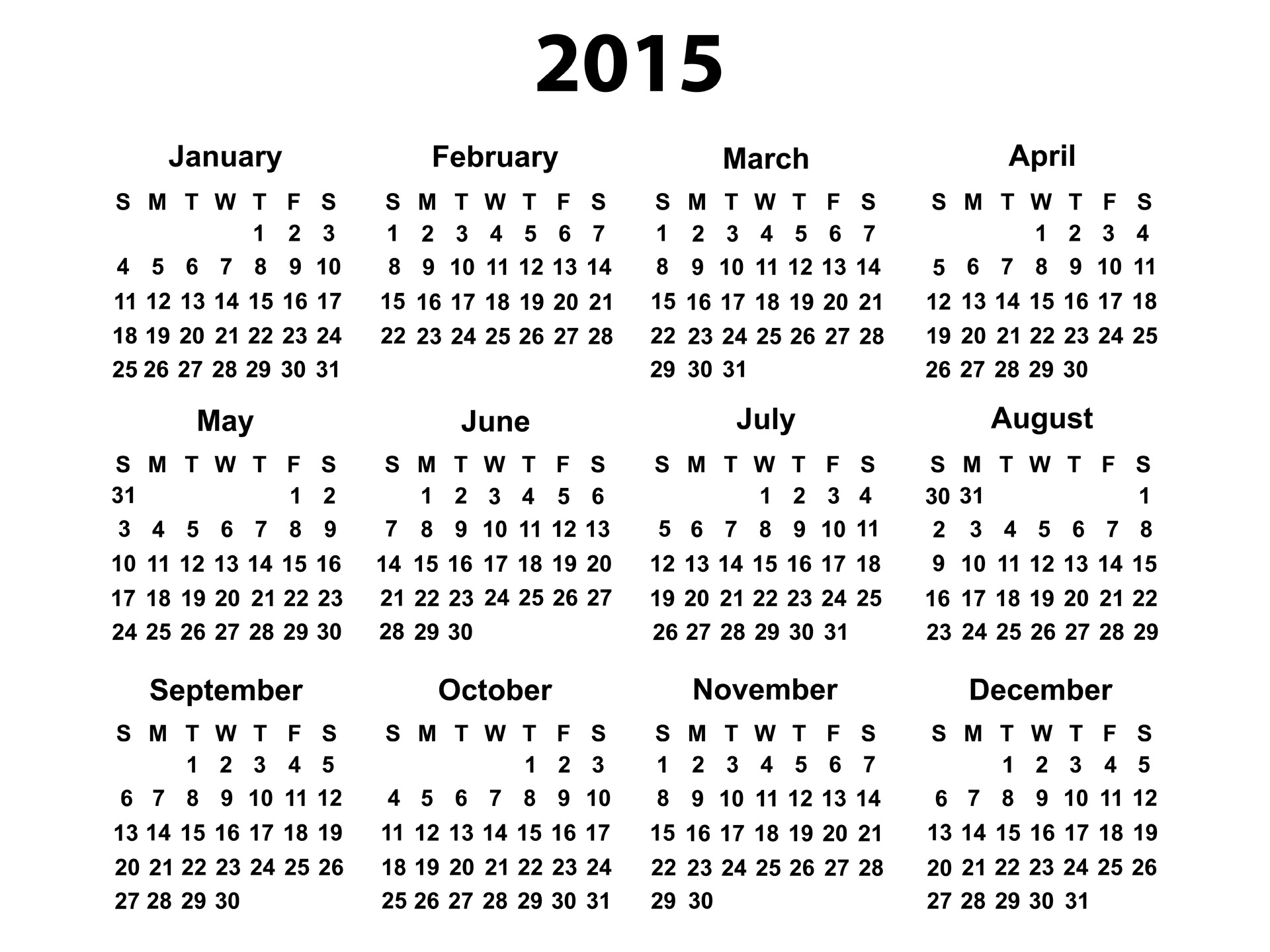 7 Images of 2015 Yearly Calendar Printable Free