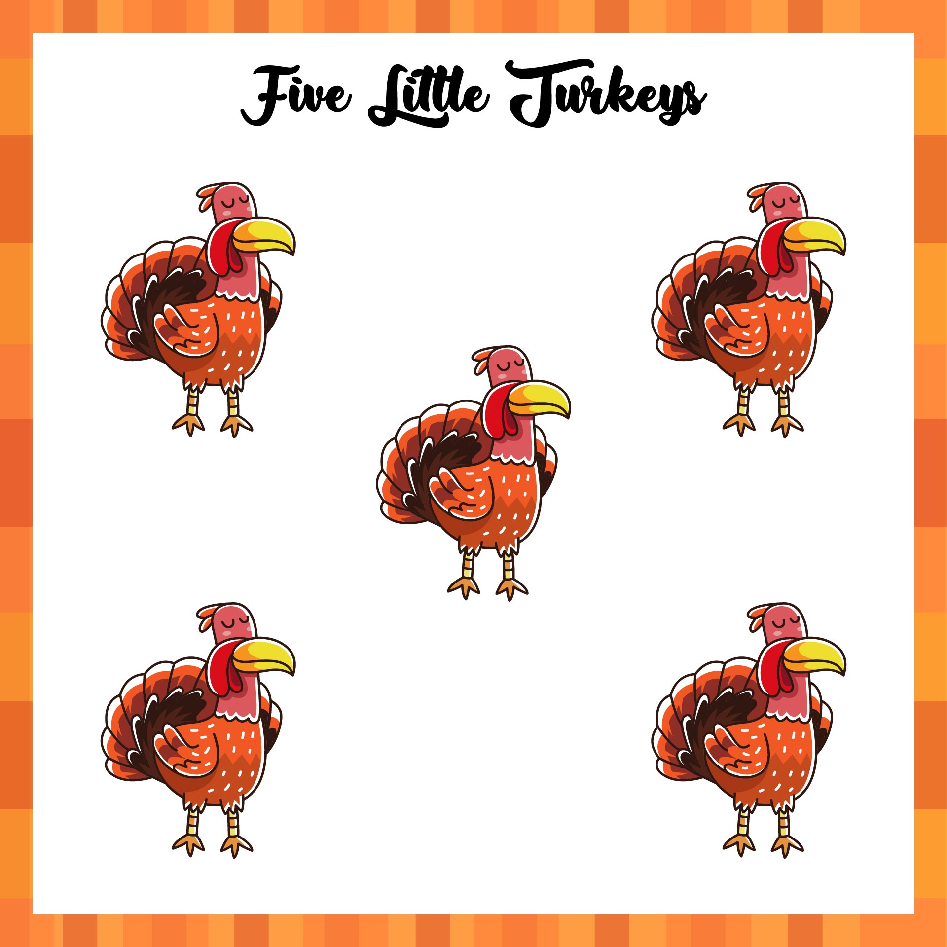 5 Little Turkeys Printable Book