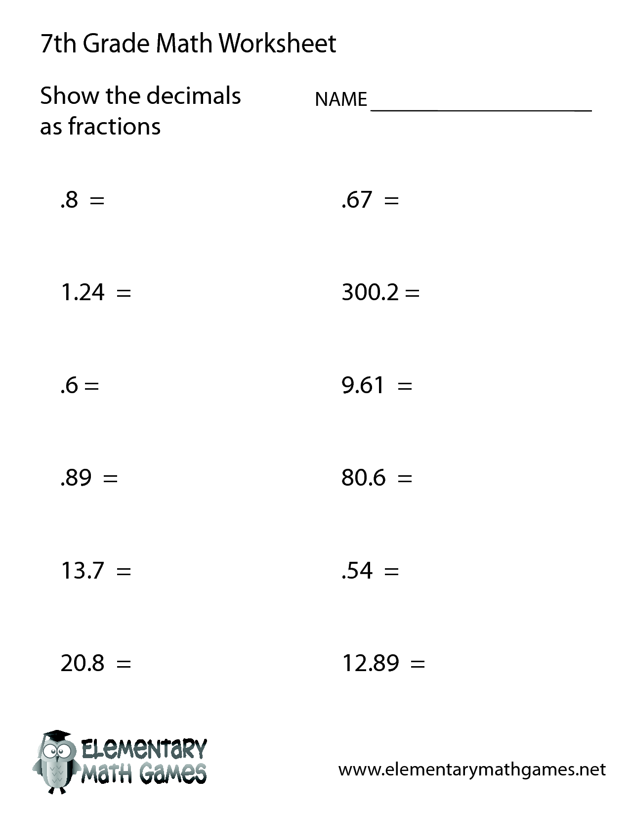 Worksheet Free Printable 7th Grade Math Worksheets Kerriwaller – Free Math Worksheets for Grade 7