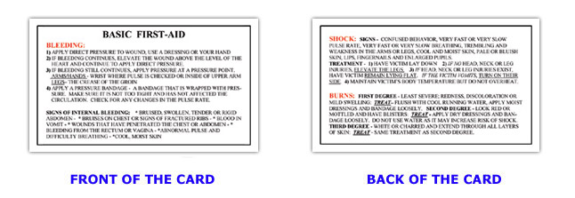 6 Images of Basic First Aid Printable Wallet Size Card