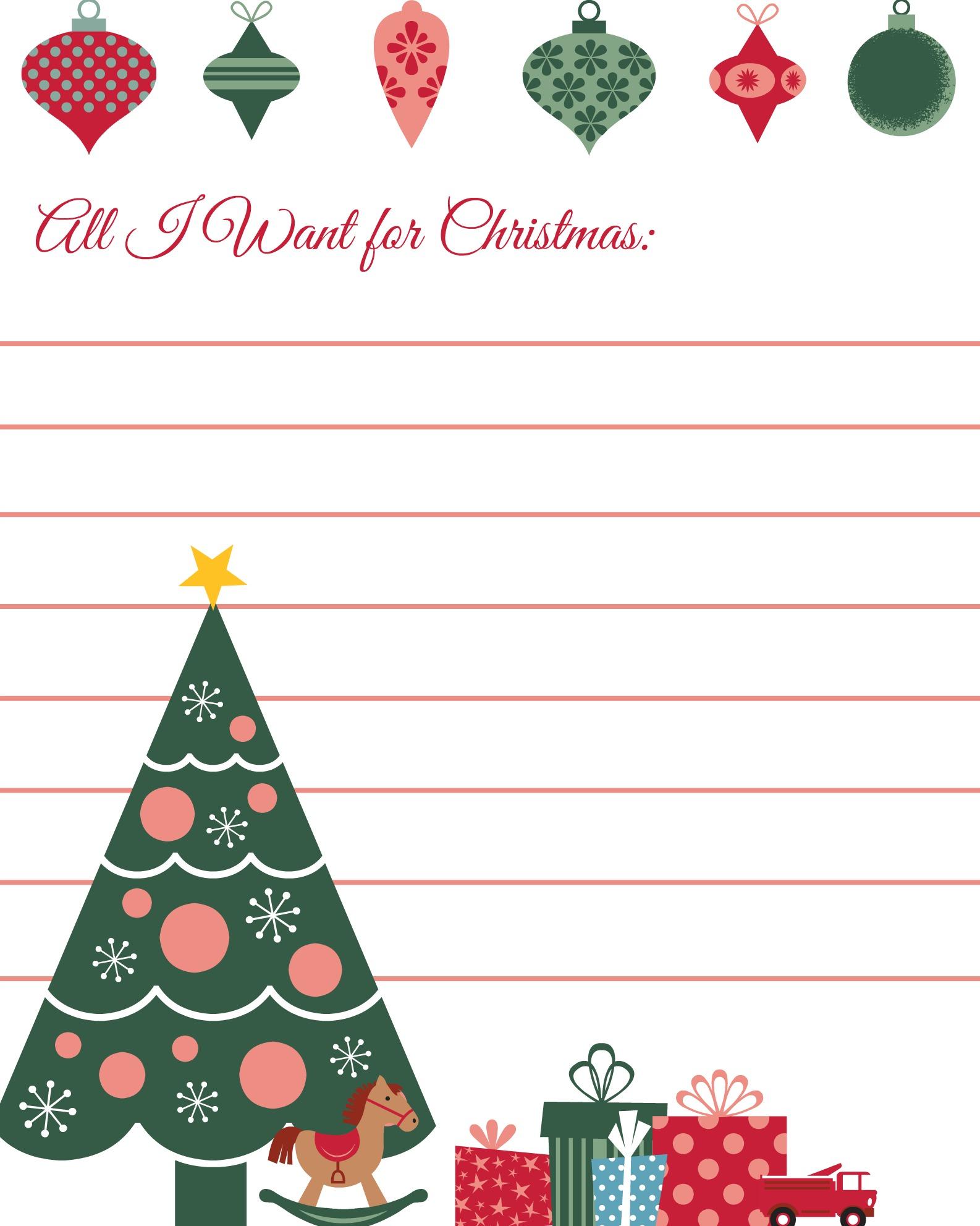 All I Want for Christmas Wish Lists Printables