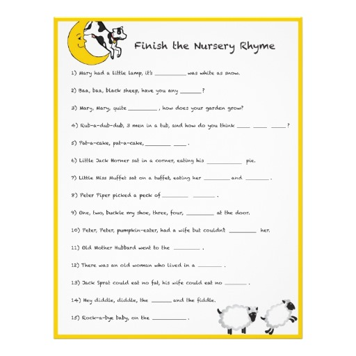 baby shower games com baby shower nursery rhyme game answers