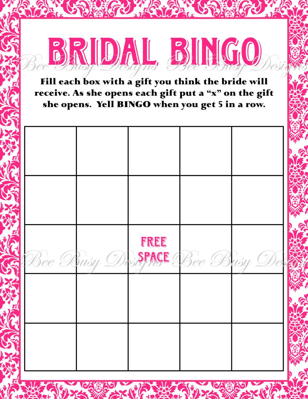5 Images of Free Printable Bridal Shower Bingo Template