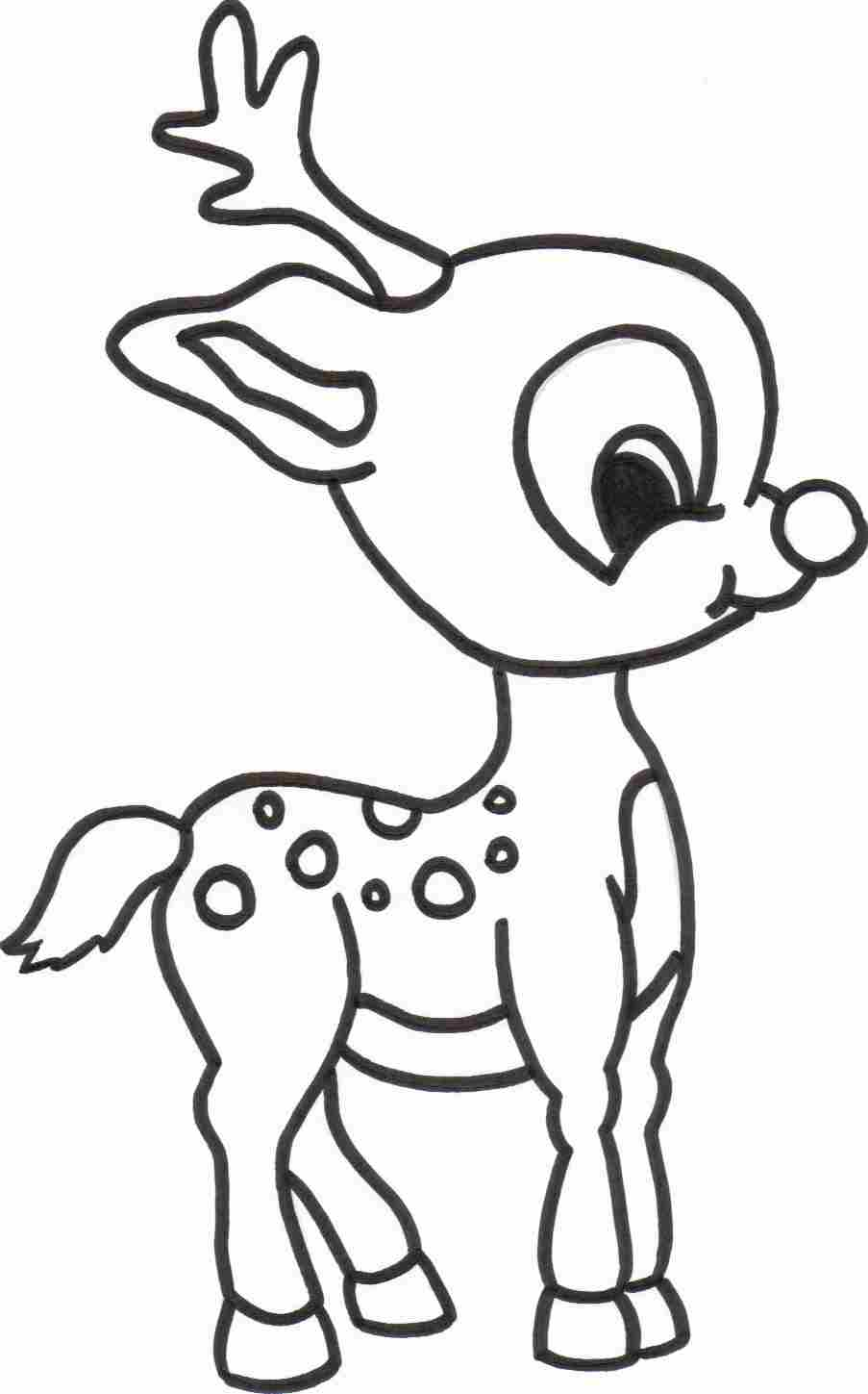4 Images of Reindeer Printable Coloring Pages
