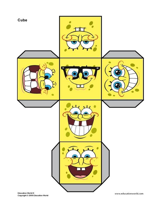 6 Images of Spongebob Printable Cube Net