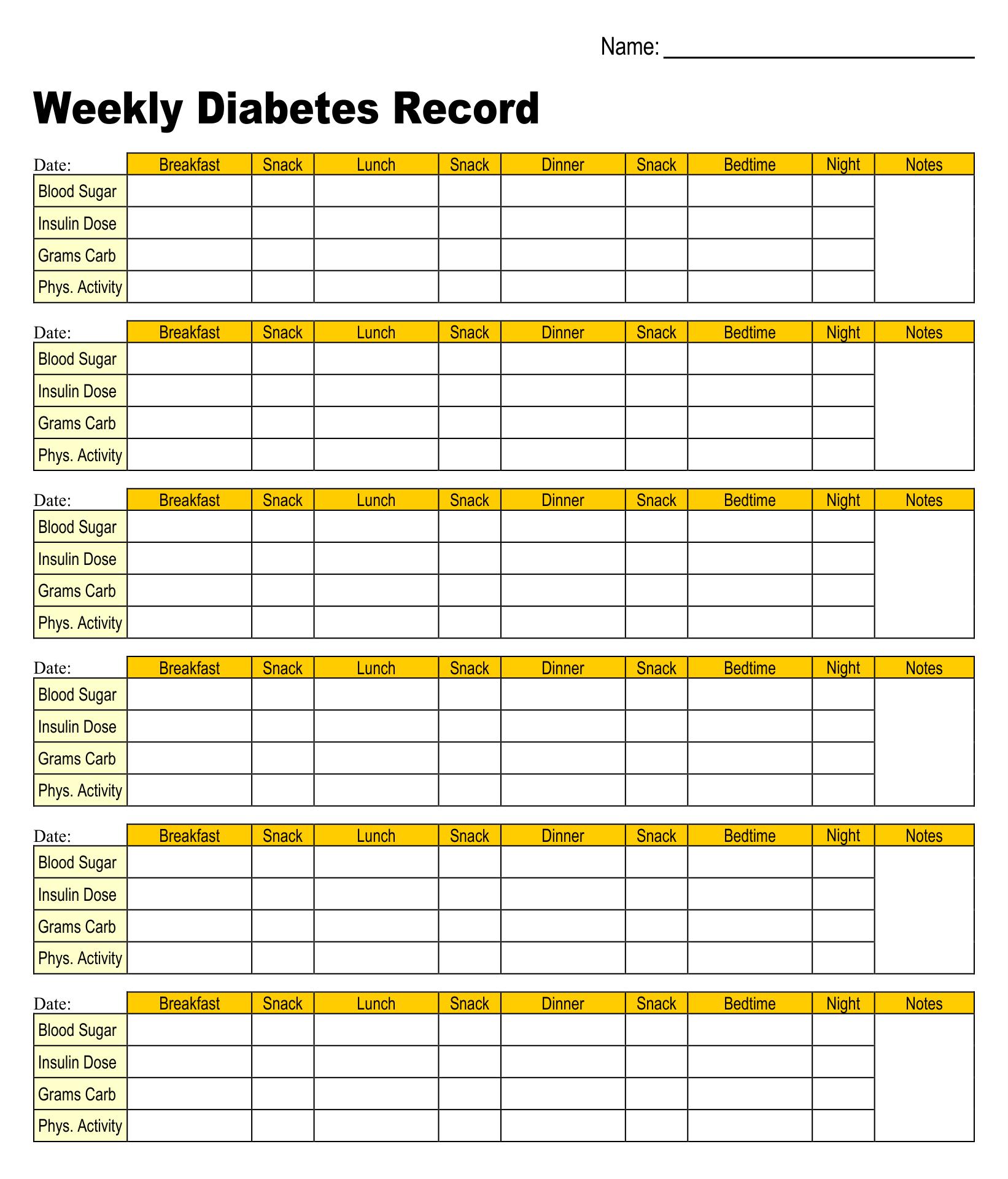 Diabetes Chart Printable