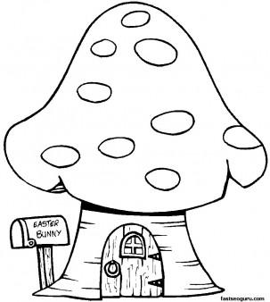 4 Images of Printable Cartoon Mushroom