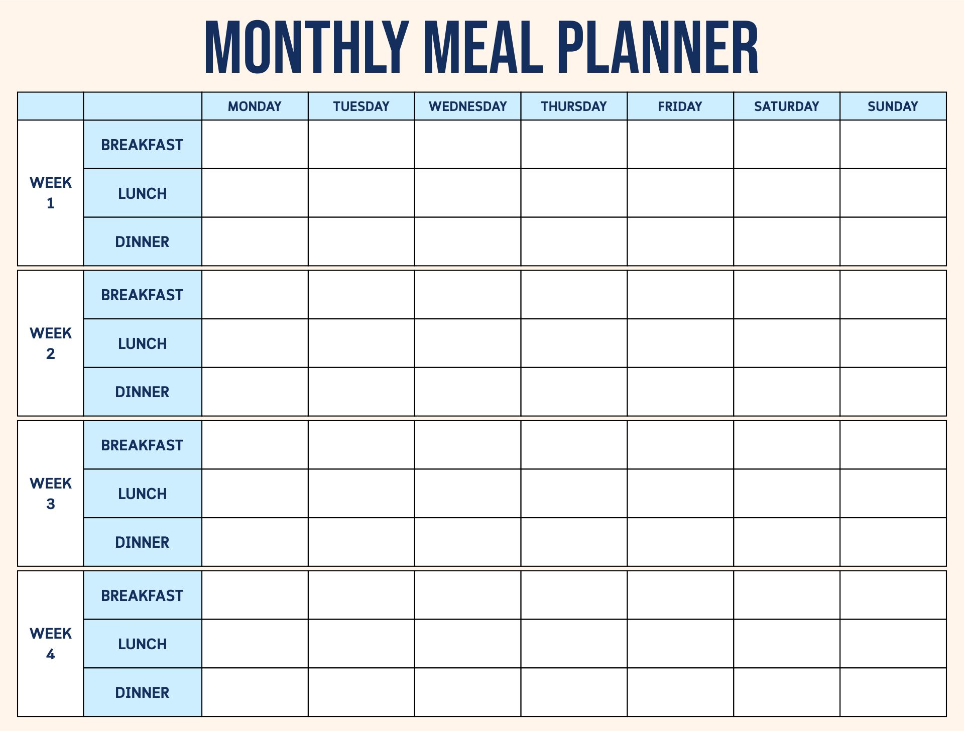 Doc575408 Daily Menu Planner Template Daily Meal Planner – Planner Format