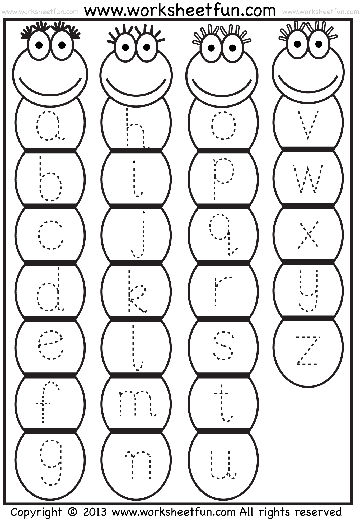 Trace Alphabet Worksheets Free Templates and Worksheets – Free Printable Kindergarten Alphabet Worksheets