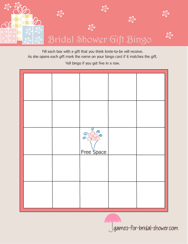 7 Images of Bridal Shower Gift Bingo Printable