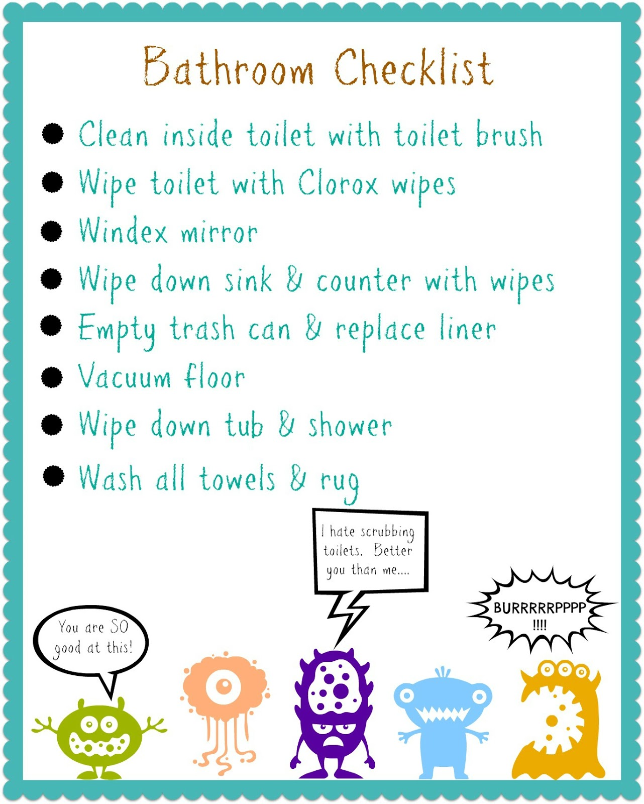 Free Printable Bathroom Cleaning Checklist for Kids