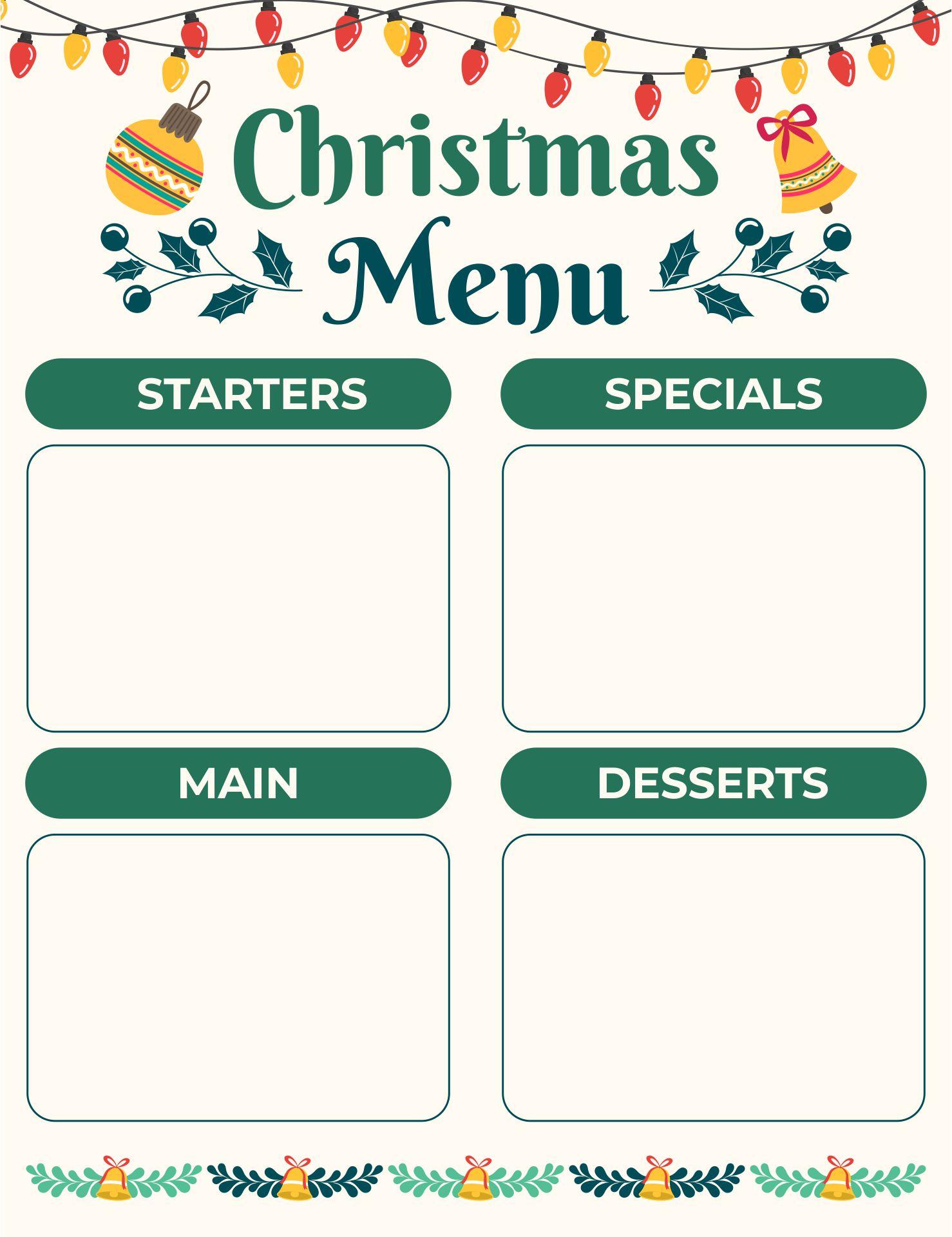 5 Images of Christmas Dinner Menu Printable