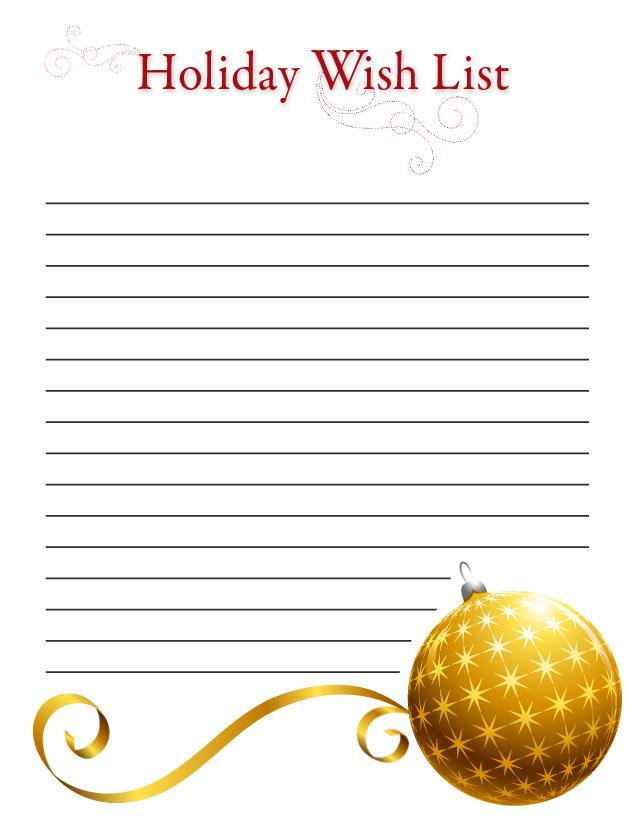 Printable Christmas Wish List Templates