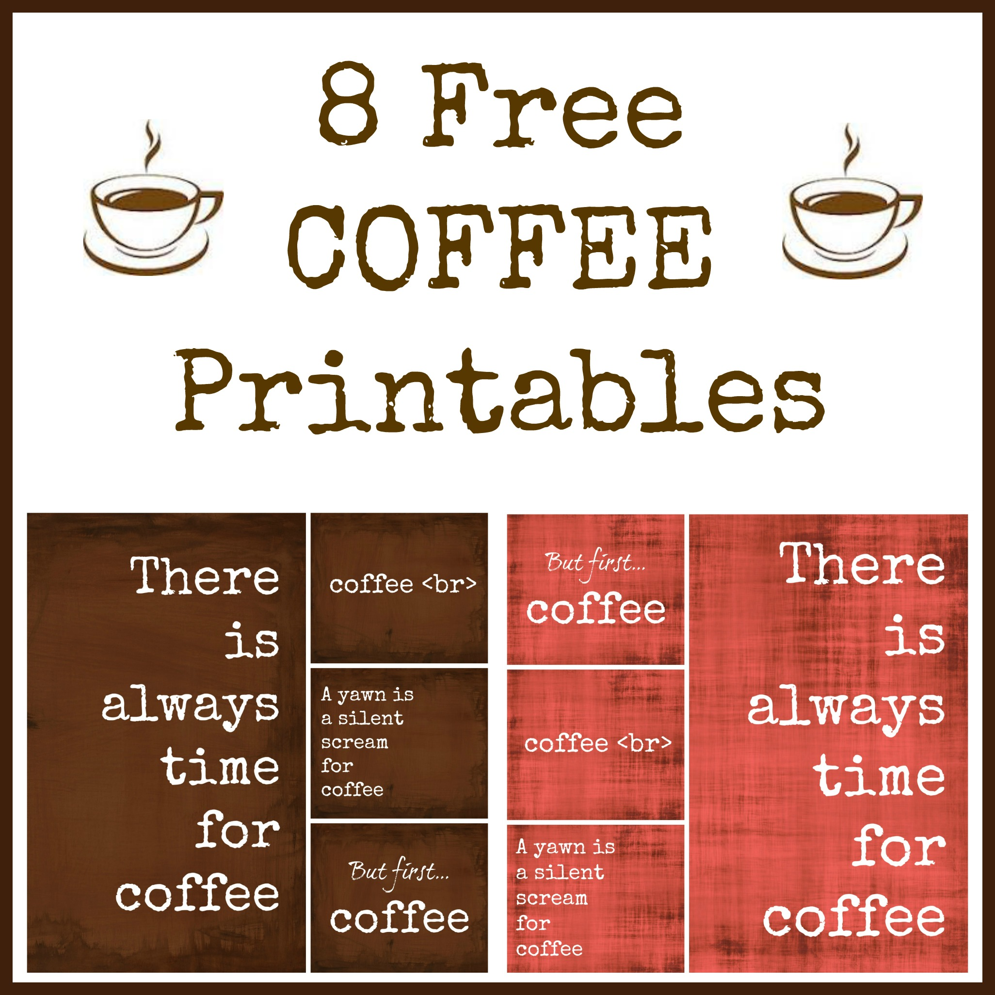 8 Images of Free Coffee Printables