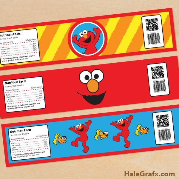 Free Printable Elmo Water Bottle Labels