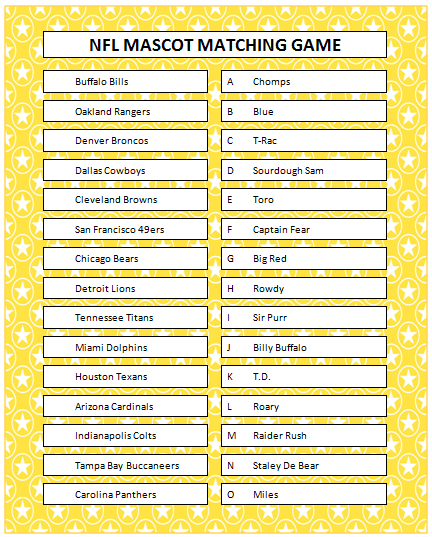 6 Images of NFL Printable Matching Games