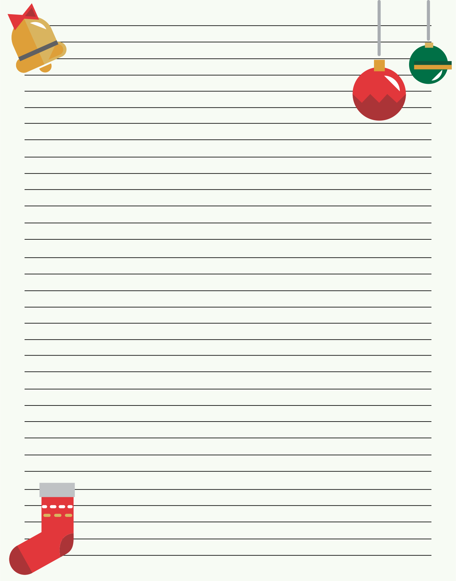 Printable Lined Christmas Stationery